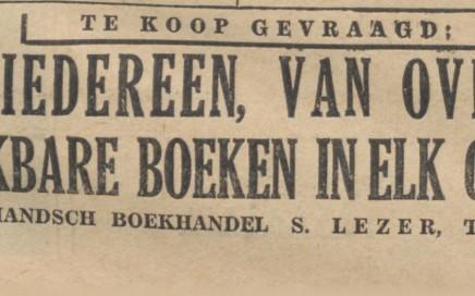 adv. S.Lezer 2dhandsboek De Indische courant 10-09-1938